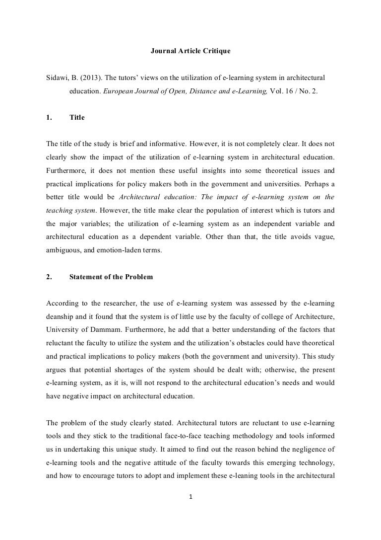 journal article review example essay